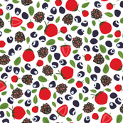 Red strawberries, black and blue berries