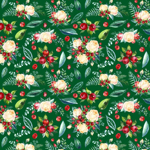 Christmas Floral 2 on Green 10x8.3""