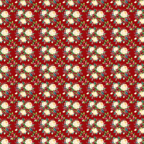 """Simple Christmas Floral on Red 3"""""""