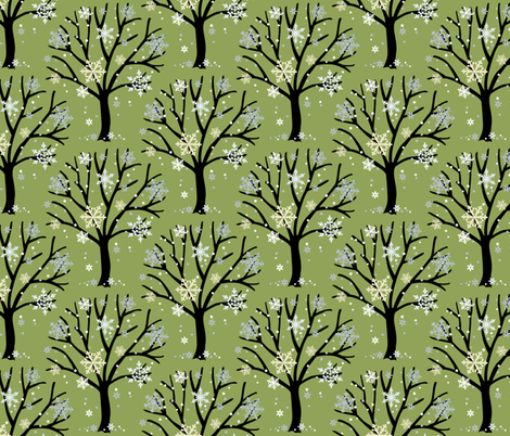 Trees and Snow fabric by barbarapixton on Spoonflower - custom fabric