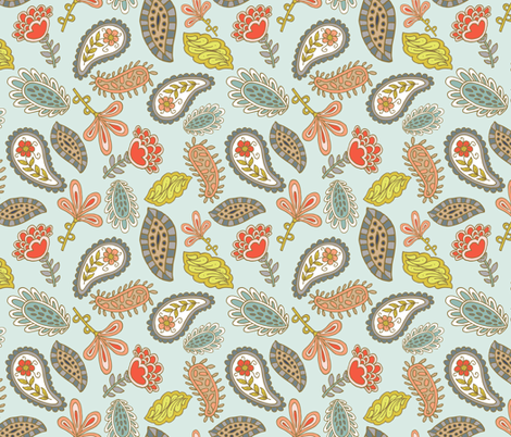 Joyful Feathers - Teal fabric by denise_ortakales on Spoonflower - custom fabric