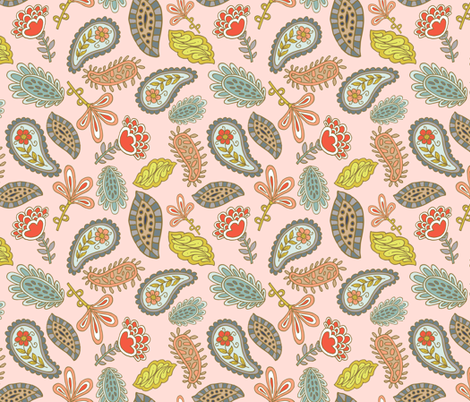 Joyful Feathers - Pink fabric by denise_ortakales on Spoonflower - custom fabric