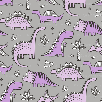 Dinosaurs in Purple on Grey