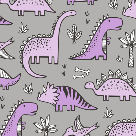 Dinosaurs in Purple on Grey fabric by caja_design on Spoonflower - custom fabric
