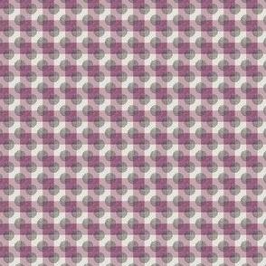 Dots of Black Weave on Raspberry Plaid