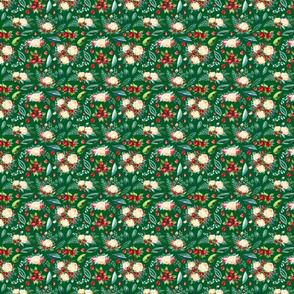 """Christmas Floral 2 on Green 4x3.3"""""""