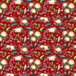 Christmas Floral 2 on Red  8x6.65""