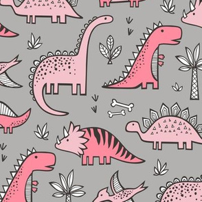 Dinosaurs in Pink on Grey