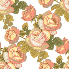 Vintage roses in coral and olive