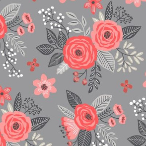 Vintage Antique Floral Flowers Red on Grey
