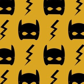 bat mask  superhero bat mask bat blot fabric - mustard