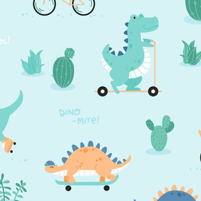 Dino-mite - BIG - mint orange green dinosaurs