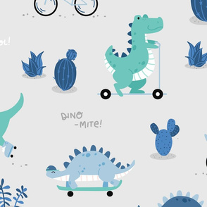 Dino-mite - BIG - gray blue mint dinosaurs