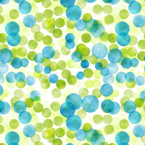 blue and green watercolored dots