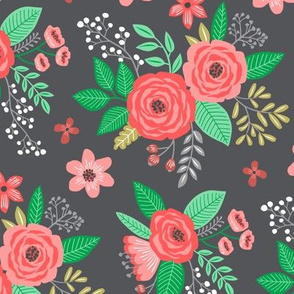 Vintage Antique Floral Flowers Christmas Red on Dark Grey