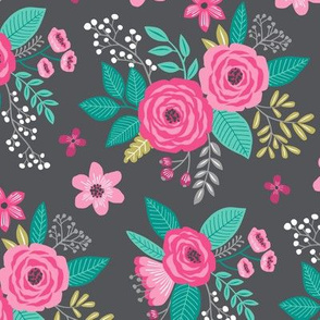 Vintage Antique Floral Flowers Pink on Dark Grey