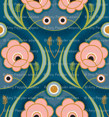 Fleur de Nuit* (Midi) || art deco 1920s 20s flower flowers floral leaves vines coral garden