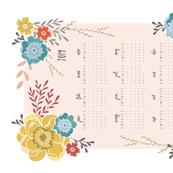 Vintage Floral 2019 Tea Towel Calendar white