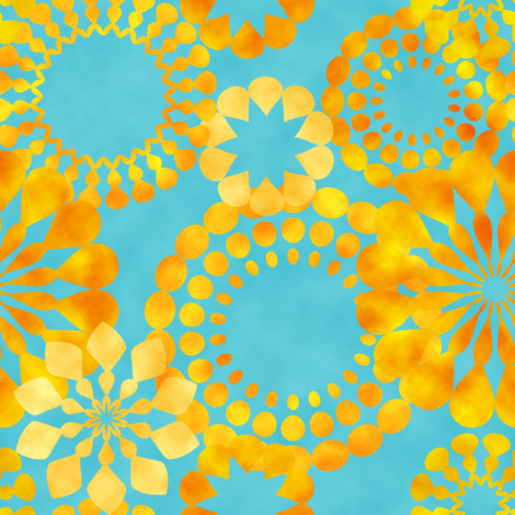 golden flowers on blue background fabric by suziedesign on Spoonflower - custom fabric