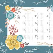 Teal Vintage Floral 2019 Tea Towel Calendar