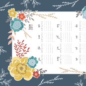 Navy Vintage Floral 2019 Tea Towel Calendar