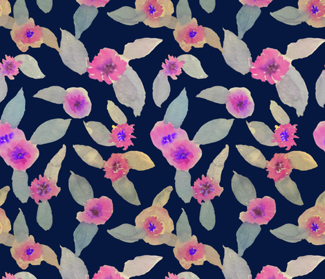 Pink Fields Watercolor // Navy fabric by theartwerks on Spoonflower - custom fabric
