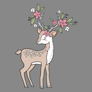 Dreamy Deer with Flowers  Pillow Plush Plushie Softie Cut & Sew
