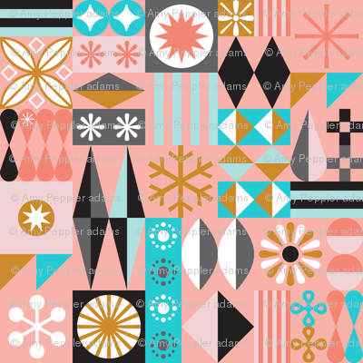 Santa's Workshop* (Mona) || geometric star stars starburst snowflake snowflakes grid christmas holiday stripes