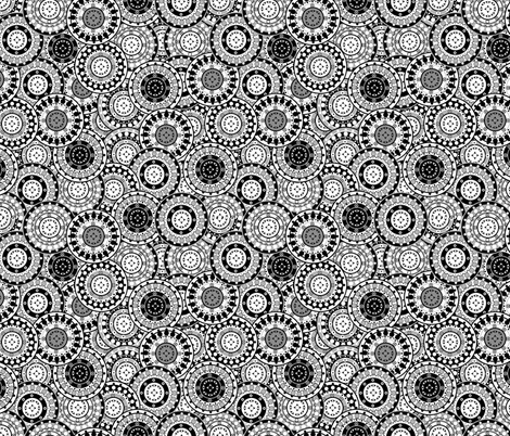 Mandalas Black and White Wheels fabric by fabric_is_my_name on Spoonflower - custom fabric