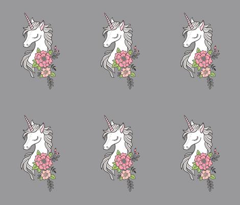 Dreamy Unicorn & Vintage Boho Flowers on Grey Pillow Plush Plushie Softie Cut & Sew fabric by caja_design on Spoonflower - custom fabric