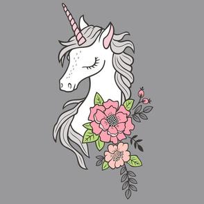 Dreamy Unicorn & Vintage Boho Flowers on Grey Pillow Plush Plushie Softie Cut & Sew