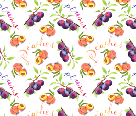Peaches & Plums fabric by denise_ortakales on Spoonflower - custom fabric