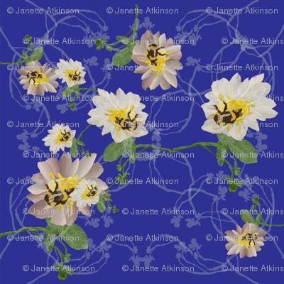 Buzzy bee flowers blue