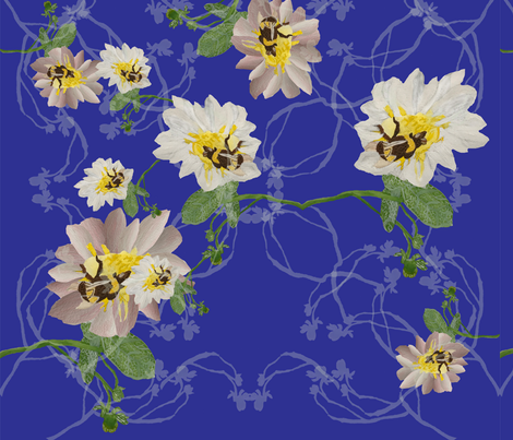 Buzzy bee flowers blue fabric by janetteatkinson@yahoo_co_uk on Spoonflower - custom fabric