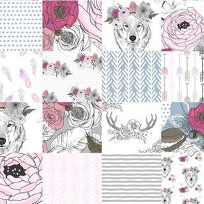 """8"""" Girl Wolf with Flowers Wholecloth Quilt"""