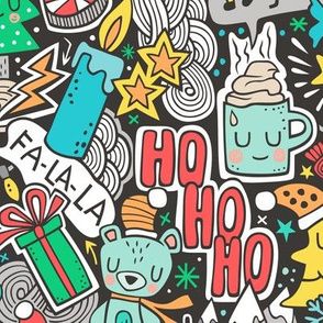 Crazy Holidays Winter Things Christmas Fabric Doodle Larger