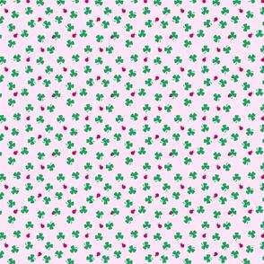 Tiny Shamrocks And Ladybugs On Pink