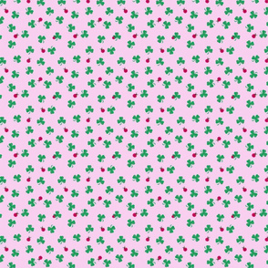 Tiny Shamrocks And Ladybugs On Deep Pink