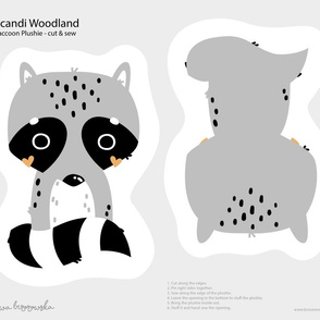 Scandi Woodland - Raccoon Softie Plushie Cut&Sew