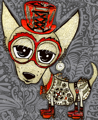 Steampunk Chihuahua victorian ornate, large scale, gray grey beige red