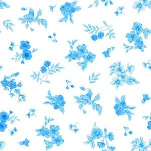 Small Aqua Watercolor Flowers on White ground