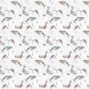 Whale tribe (white) XXXSML
