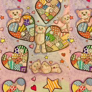 Teddy bears and Quilted Hearts