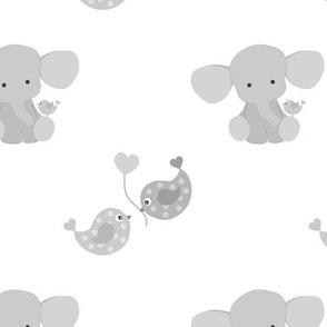 Gray Elephant Chickadee Bird Hearts Baby Nursery Nuetral