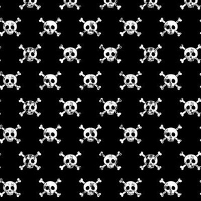 "(3/4"" scale) skull and bones (white on black)"
