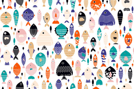 all the fish in the sea fabric by booboo_collective on Spoonflower - custom fabric