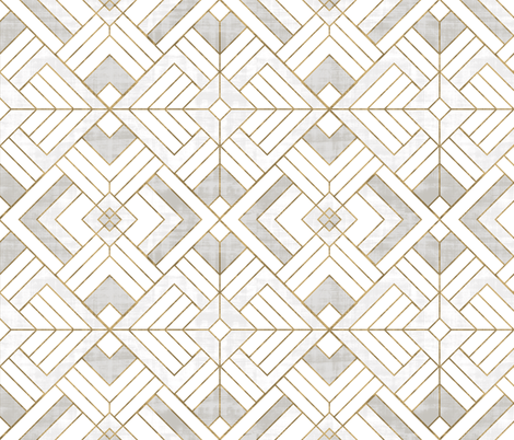 Lennox Vintage Deco-white gold fabric by crystal_walen on Spoonflower - custom fabric