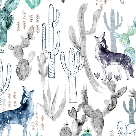 Coyote Call (white)  fabric by nouveau_bohemian on Spoonflower - custom fabric