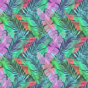 Colorful tropical background with banana and palm leaves