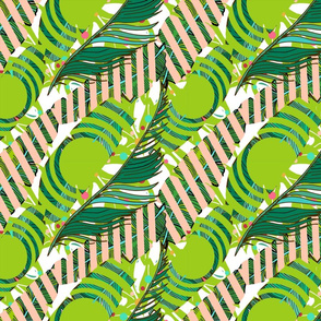 Abstract tropical pattern with palm leaves, green circles and pink stripes.